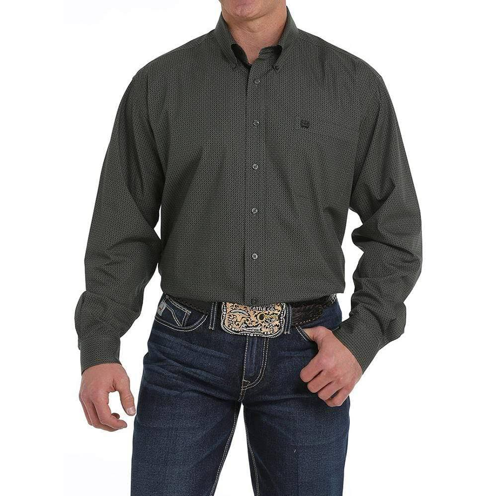 Cinch Men's Olive Geo Print Long Sleeve Western Shirt