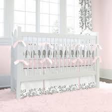 Pink and Gray Elephants Crib Bedding
