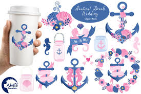 Nautical Beach Wedding Graphic Illustration Clipart AMB 1393 Example Image
