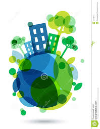 100 House Earth Colorful Silhouette And Green Trees On The Abstract