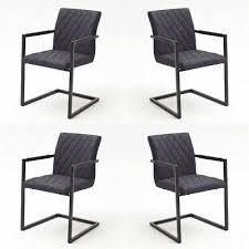 schwingstuhl grau 4er set esszimmerstuhl mit armlehne stuhl kian b gesteppt ebay