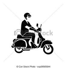 Man Rides Vintage Vespa Vector