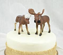 Moose Wedding Cake Topper North Woods Alaska Mr And Mrs Rustic Hunter Hunting Shower Bride Groom