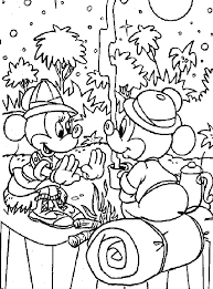 Camping Coloring Pages Mickey Mouse