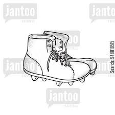 Drawing Sketch Style Illustration Of A Vintage American Football Boots Viewed From The Side Set On Isolated White Background