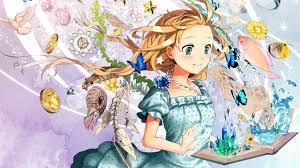 Cute Anime Girl Reading Creative Book