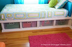 twin corner beds with under bed storage using sterilite plastic