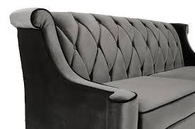 Tufted Velvet Sofa Bed by Amazon Com Armen Living Lc8443gray Barrister Sofa In Grey Velvet