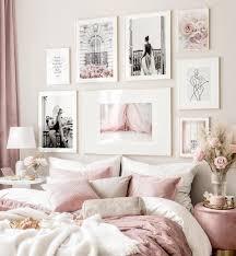 fashion bilderwand rosa schlafzimmer schwarz weiß poster goldrahmen