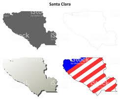 Santa Clara County California Outline Map Set Royalty Free