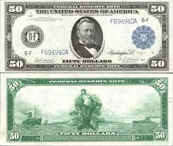 US 50 Dollar Note Series 1914 Atlanta 6 F Serial F694940A Signatures Burke Houston Panama Between Two Ships Portrait Ulysses S Grant
