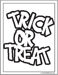 Halloween Coloring Pages Trick Or Treat Banner