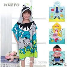 Creative Beach Towels Kids Robes Bathrobe Funny Cartoon Cape Hooded Cloak Children Cute Printed Swimming