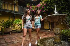 wallpaper brown haired fountains smile beautiful 2 girls t shirt