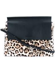chloé sac porté épaule brown leopard femme sacs portés épaule