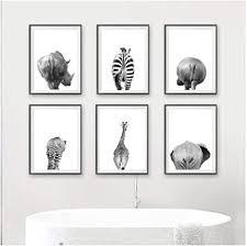 mulmf safari tiere hintern schwarz weiß leinwand poster