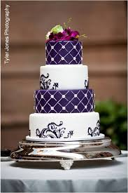 Purple And White Wedding Cake Photo