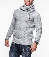 homme fashion gris col montant 7080