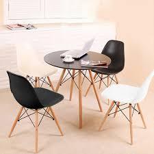 esstisch runde mit 4 stühle 2 weiß 2 schwarz tisch stühle 70x70x72cm essgruppe für esszimmer küche büro konferenzzimmer