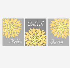Yellow Gray And Teal Bathroom by Bathroom Canvas Wall Art Yellow Gray Grey Relax Refresh Renew
