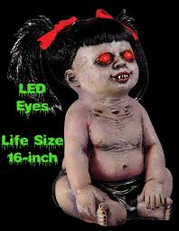 Motion Activated Outdoor Halloween Decorations by Spooky Haunted Dolls Creepy Zombie Babies Scary Undead Baby
