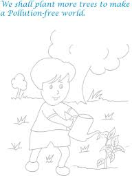 Children Plant More Trees Pollution Free World Coloring Pages