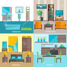 interior design für badezimmer wohnzimmer und küchenmöbel 4 flach icons zusammensetzung abstrakten isolierten vektor illustration