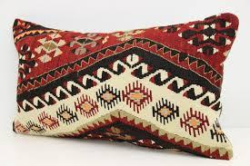 Decorative Lumbar Kilim Pillow Cover 14X24 Inches Rustic Sofa Decor Wool Throw Bohemian Pillows Lba 199