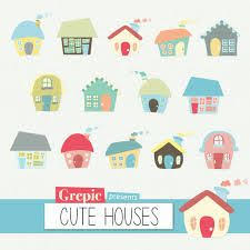 Houses Clip Art Digital Clipart CUTE HOUSES Pack With Hand Drawn Colorful Homes Forming A Village