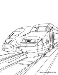 High Speed Trains Sideline Parked In The Train Station Coloring Page