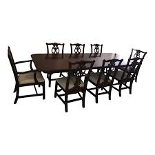 1940s Chippendale Ethan Allen Mahogany Style Dining Room Set - 9 Pieces