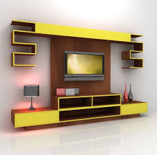 Modern And Futuristic TV Console Design With Wall Mounted Installation Idea Open Shelves Desk