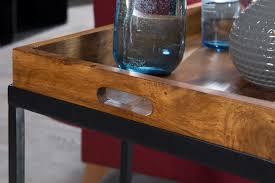 beistelltisch wl5 667 sheeshamholz 70x65x34 cm mit metallgestell design tv tray tabletttisch wohnzimmer kleiner palisander serviertisch naturholz