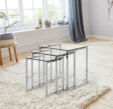 andas beistelltisch set mit einer glastischplatte aus klarem glas und chromgestell