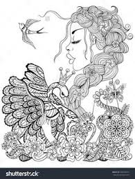 Forest Fairy With Wreath On Head Hugging Swan In Flower For Antistress Coloring Page High Details Isolated White Background Illustration