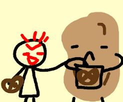 evil child stealing pretzels from a potato