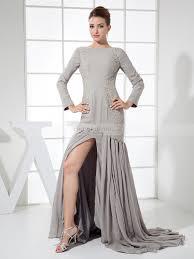 marvie chiffon long sleeved mermaid style evening dress with slit
