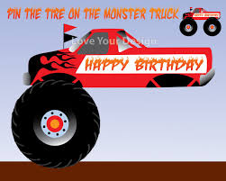 100 Juegos De Monster Truck Pin The Tire On The Birthday Party Game INSTANT
