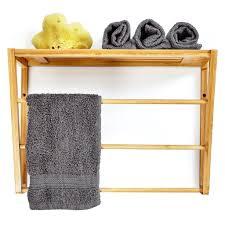 bambuswald wandregal fürs bad ca 42x30x20cm handtuchhalter regalaufbewahrung badregal mit handtuchstangen wandhandtuchhalter wandgarderobe ablage