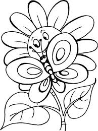 Printable Butterfly Coloring Pages Small With Flowers