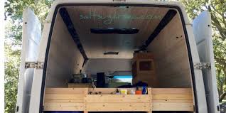 Van Conversion Bed Frame Headboard With Custom Built Wood Shelf For Storage DIY