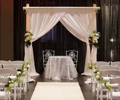 Indoor Sydney Wedding Ceremony With 4 Post Bamboo Style Canopy White Chiffon