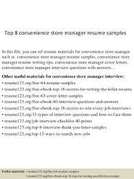top 8 convenience store manager resume sles 1 638 jpg cb 1431570708