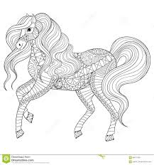 Royalty Free Vector Download Hand Drawn Zentangle Horse For Adult Coloring Page