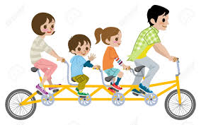 Family Riding Bikes Clipart