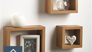 Solid Oak Effect Cube Display Shelves Set Of 3 Ornament Wall Decor