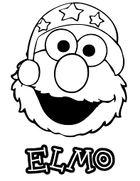 Elmo With Hat Coloring Page