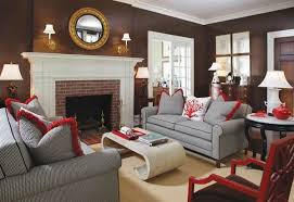 brown living room wall color gray sofa set fireplace mirror wall