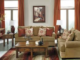 Interior Design Classic Living Room Featuring Deep Beige Linen Lawson Couch Topped With Red And