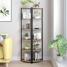homecho eckregal bücherregal mit 6 ablagen standregal leiterregal pflanzenregal aus metall und holz küchenregal für wohnzimmer büro balkon industrie